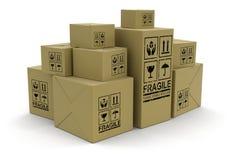 许多包裹(包括的裁减路线) 库存照片