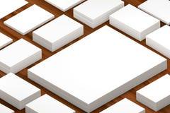 许多卡片堆对介绍的纸模板 免版税库存图片