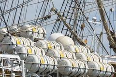 许多可膨胀的橡皮救生艇 免版税图库摄影