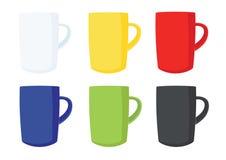 许多咖啡杯多颜色白色黄色红色蓝绿色黑色 皇族释放例证
