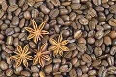 许多咖啡豆 并且四个茴香星 模式 免版税库存图片