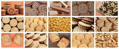 许多图片拼贴画与各种各样的甜点特写镜头的 集合o 免版税库存图片