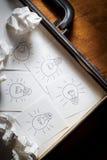 许多在公文包的想法 免版税库存照片