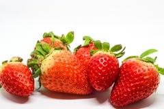 许多在白色背景的草莓 免版税库存图片