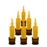 许多在白色背景的蜡烛 免版税库存图片