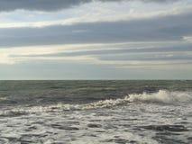许多在水,风雨如磐的海的海鸥 免版税库存照片