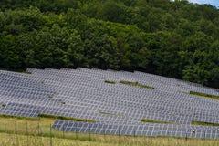 许多太阳能集热器和绿色树 免版税库存图片