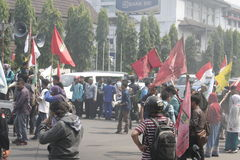 许多学生抗议 免版税图库摄影