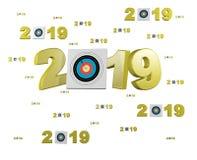 许多射箭目标2019设计与许多目标 免版税库存照片