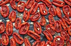 许多干红色蕃茄用黑暗的表面上的香料 干蕃茄纹理背景 库存照片