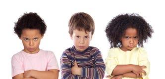 许多恼怒的孩子 库存照片