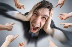 许多手犯错误的指向和责备人 免版税库存照片
