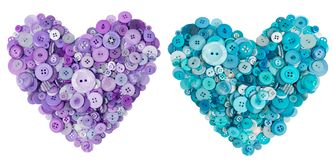 许多按钮的淡紫色和绿松石心脏 免版税库存照片