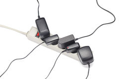 许多插座接通在白色隔绝的延长绳路 免版税库存图片