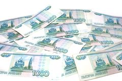 许多数千俄罗斯卢布提供经费给概念和风水 免版税图库摄影