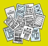 许多文件/杂乱混乱板料 库存例证