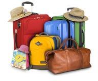 许多旅行的手提箱 免版税库存照片