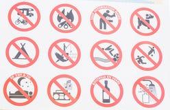 许多材料禁止 库存照片