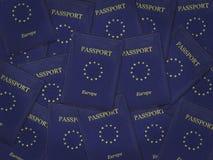 许多欧盟护照 免版税库存照片