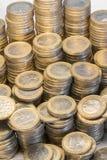 许多欧洲硬币 库存图片