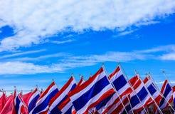 许多泰国旗子 免版税库存照片