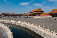 许多游人在紫禁城 免版税库存图片