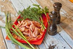 许多煮沸的虾,特写镜头 免版税库存照片