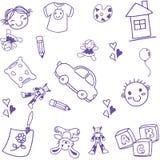 许多玩具孩子乱画艺术 免版税库存图片