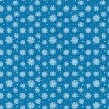 许多白色雪花的无缝的样式在蓝色背景的 CH 向量例证