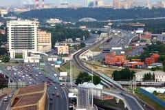 许多的汽车莫斯科环形第三运输 库存图片