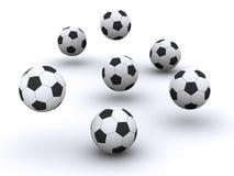 许多的球足球 免版税库存照片