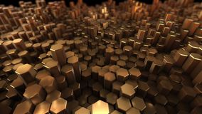 许多的金子六角形有几何背景 股票视频