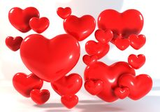 许多的3d红色心脏 免版税库存图片