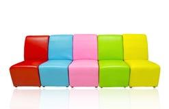 许多皮革沙发的颜色 库存照片