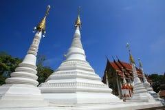许多空白塔和蓝天的一个寺庙 图库摄影