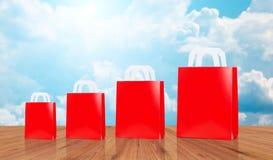 许多空白的红色购物袋 免版税库存图片
