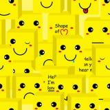 许多箱子的微笑无缝的样式 库存图片