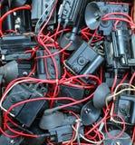许多老使用的电子高压变压器 库存照片