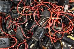 许多老使用的电子高压变压器 免版税库存图片