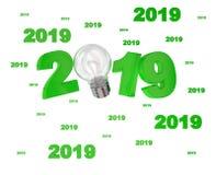 许多老电灯泡2019设计 免版税库存图片