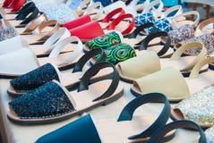 许多色的Menorcan鞋子 库存图片
