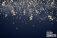 许多落的金黄五彩纸屑和丝带在深蓝背景 背景欢乐新年度 您的项目的地方 圣诞节 向量例证