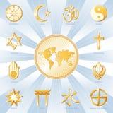 许多蓝色信念的金子一个世界 库存图片