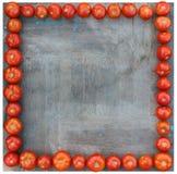 许多蕃茄在方形的木板附近排队了作为框架 库存图片