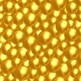 许多金黄雕琢平面的球抽象背景  免版税库存照片