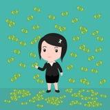 许多钞票,女商人有许多钞票 免版税库存图片