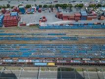 许多铁路线鸟瞰图  库存照片