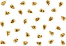 许多锥体变褐在一个白色背景样式的云杉的圣诞节装饰 免版税库存图片