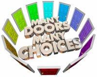 许多门选择门选择不同的道路 库存照片