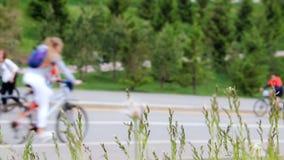 许多骑自行车者和步行者上升和下降小山 震动从在前面的风的草的小尖峰 股票录像